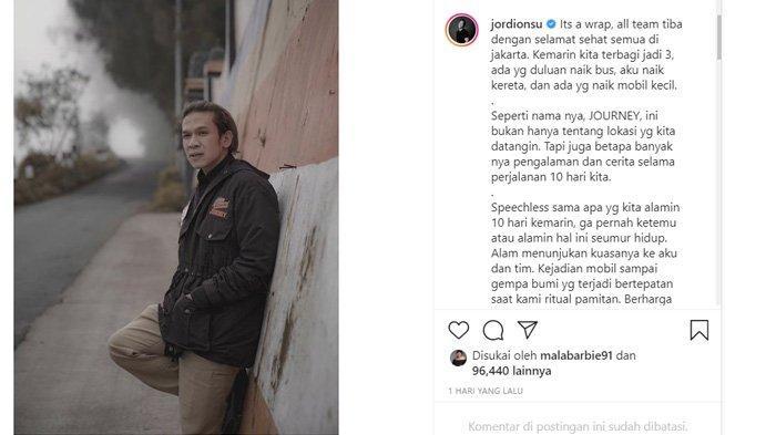 Postingan Jordi Onsu di Instagram Minggu, 11 April 2021 menjelaskan kecelakaan di Malang