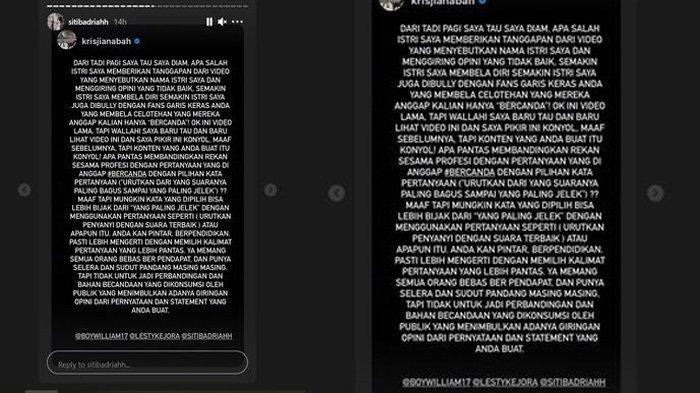 Postingan Krisjiana Baharudin menegur Boy William dan Lesti Kejora menyebut suara Siti Badriah jelek