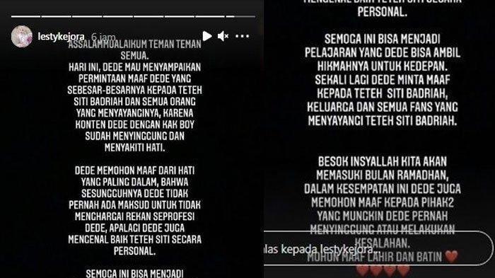 Postingan Lesti Kejora meminta maaf menyebut suara Siti Badriah jelek