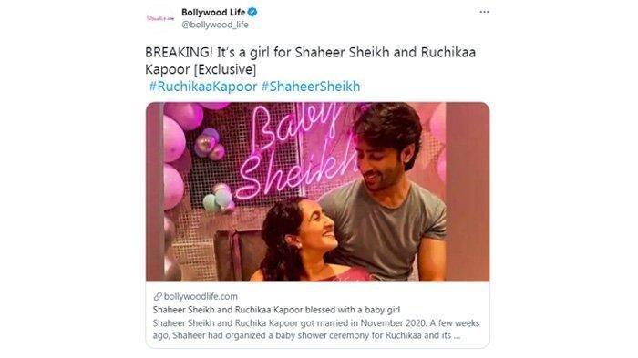 Postingan media India merilis kabar Ruchikaa Kapoor melahirkan