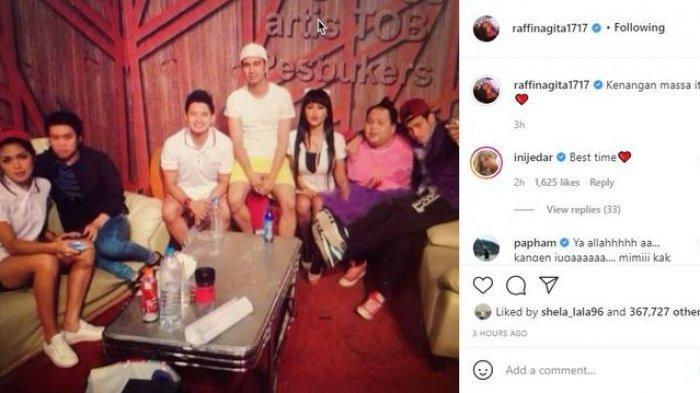 Postingan Raffi Ahmad mengunggah kenangan bersama Olga Syahputra dan Julia Perez