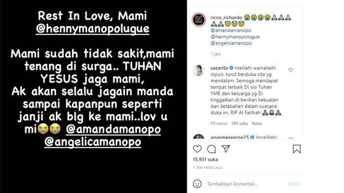 Postingan Ricco Richardo mengabarkan Ibu Amanda Manopo meninggal dunia