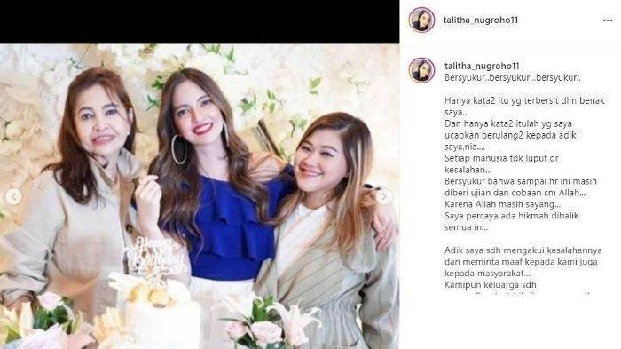 Postingan Talitha Nugrohotentang kondisi ibunya dan keluarga memaafkan Nia Ramadhani