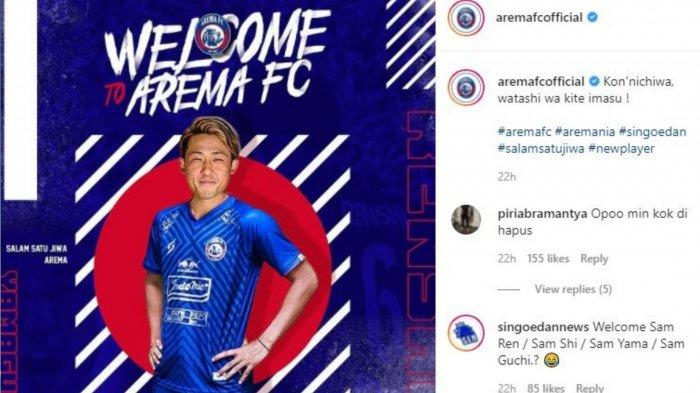 Potret pemain baru Arema FC Renshi Yamaguchi.