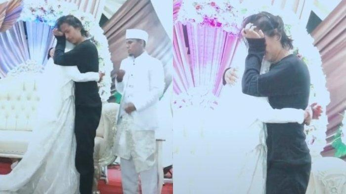 Potret viral pemuda peluk pengantin wanita di pelaminan