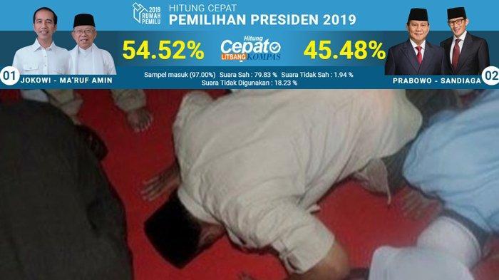 Prabowo Sujud Syukur saat Hitung Cepat 10 Lembaga Berikut Menunjukkan Jokowi Unggul