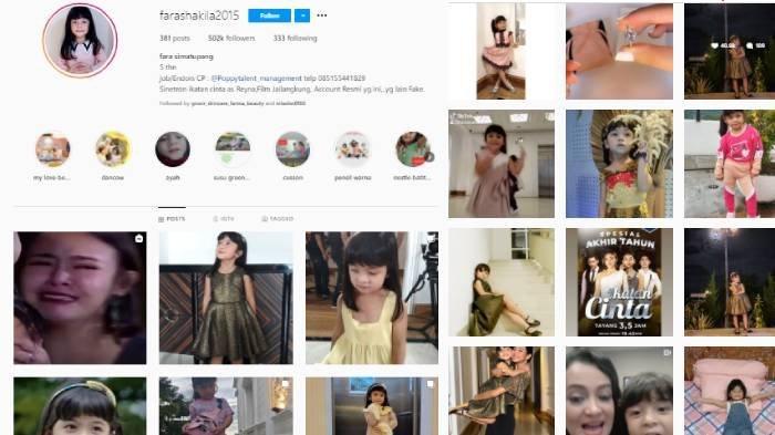 Profil akun Instagram Fara Shakila pemeran Reyna anak Aldebaran @farashakila2015