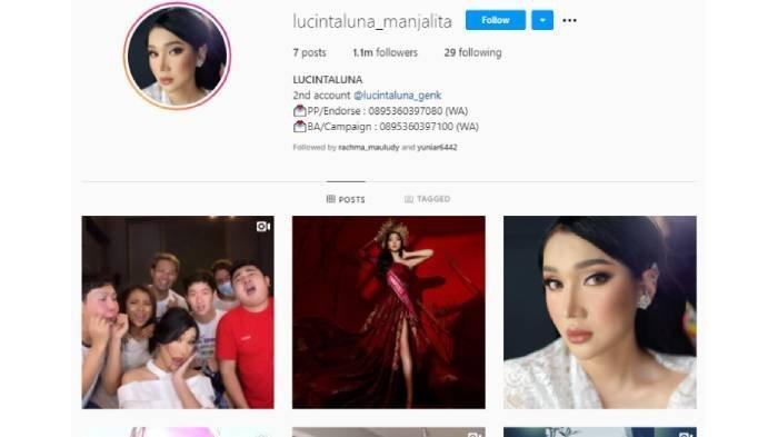 Profil akun Instagram Lucinta Luna @lucintaluna_manjalita