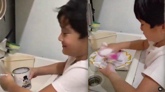 Rafathar mencucui alat makannya sendiri