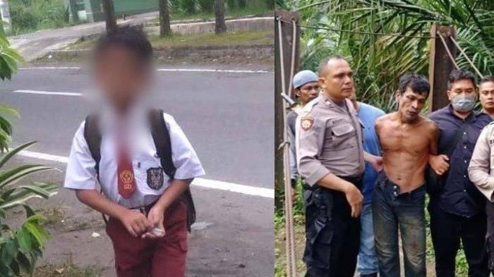 Rangga (kiri) bocah SD yang terbunuh dan pelaku Samsul Basri (kanan)