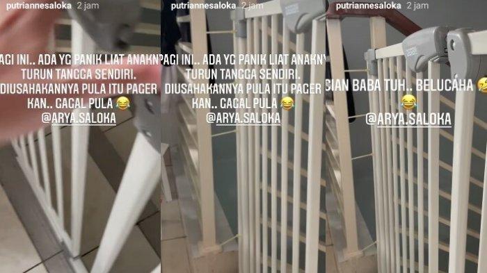 Reaksi panik Arya Saloka terekam Instagram Story Putri Anne, Ibrahim turun tangga sendirian