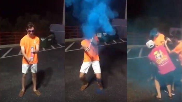 VIDEO : Ini Bukti Bom Asap Tak Baik, Perhatikan Wajah Remaja Ini Setelah Kena Semburan Bom Asap!