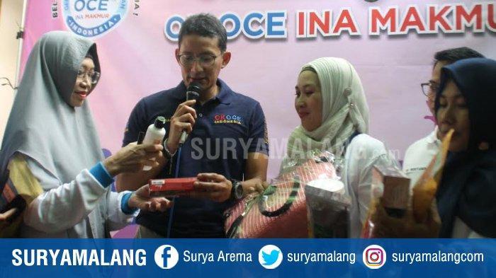 Sandiaga Uno Endorse Produk UMKM Jatim di Acara Peresmian Rumah Ok Oce di Surabaya