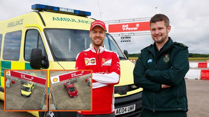 VIDEO : Duel Seru Sebastian Vettel vs Sopir Ambulans, Siapa Menang?