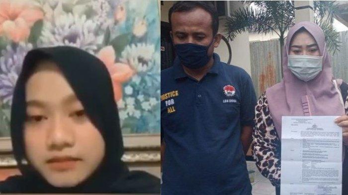 Agesti Ayu Wulandari saat memberikan keterangan terkait pelaporan ibu kandungnya dan S (36) didampingi pengacara Haryanto (kiri)