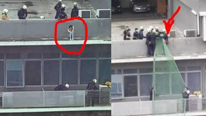 Detik-detik Penyelamatan Wanita Diduga Mau Bunuh Diri dari Balkon Gedung, Jaring Pengaman Dikerahkan