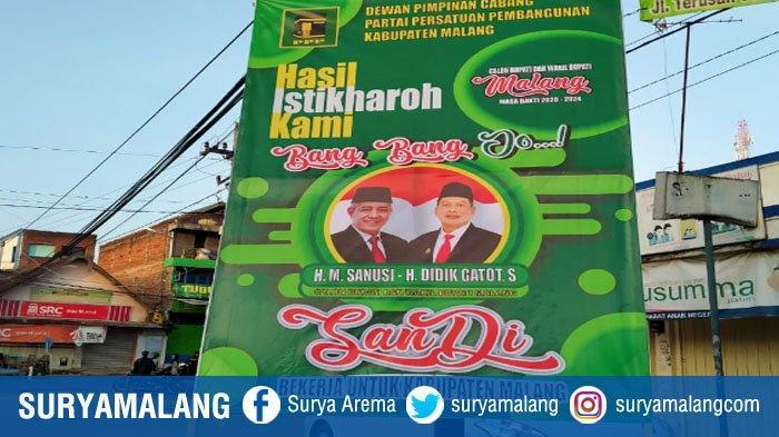 Baliho Bergambar Sanusi-Didik Mulai Terpampang di Jalan, Bawaslu Kabupaten Malang Tunjuk Satpol PP