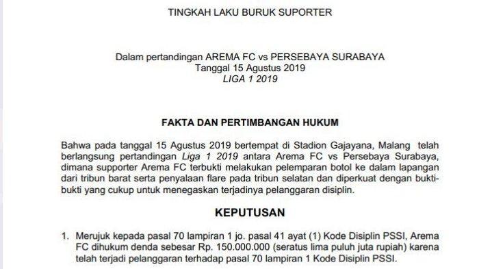 Kejanggalan Surat Hasil Sidang Komdis PSSI 20 Agustus 2019 Soal Pelanggaran Laga Arema Vs Persebaya