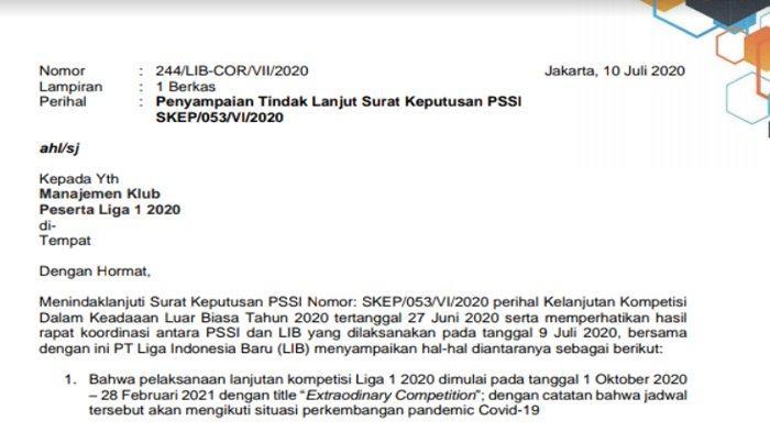 BREAKING NEWS : Kick Off Lanjutan Liga 1 2020 pada 1 Oktober 2020, Dipusatkan di Pulau Jawa