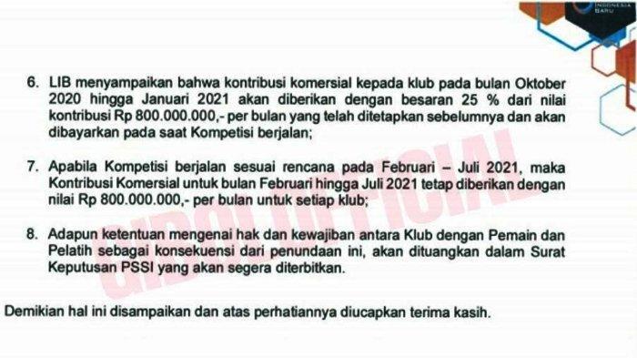 BREAKING NEWS : Subsidi Klub Hanya Dibayarkan 25 Persen, PT LIB Keluarkan Surat Berisi 8 Poin