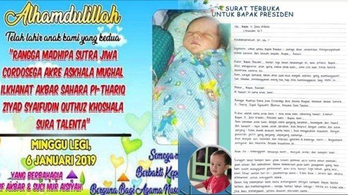 Surat terbuka bagi Presiden Jokowi dari orangtua seorang anak yang memiliki nama terpanjang di Tuban (Kanan). Nama yang diberikan saat si bocah dilahirkan (kiri)