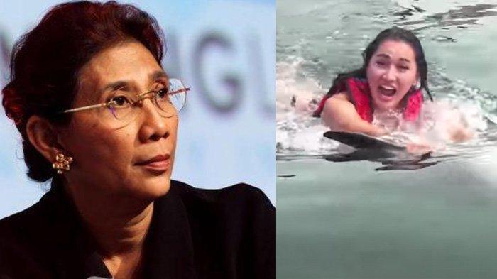 Pantas Dikecam Susi Pudjiastuti, Begini Aksi Lucinta Luna Renang Ditarik Lumba-lumba, Videonya Viral