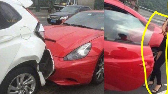 Pria Batal Marah Setelah Mobilnya Ditabrak Ferrari, Cewek Seksi & Cantik Keluar, Buntutnya Mirip FTV