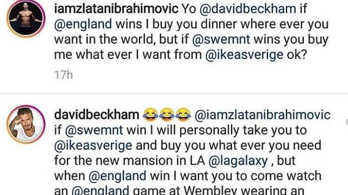 Laga Swedia Vs Inggris, Seperti Ini Taruhan Kocak Ala Zlatan Ibrahimovic Vs David Beckham
