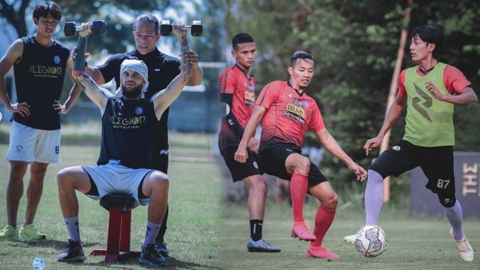 Para pemain Arema FC menjalani ge Gym outdoor dalam TC di Kota Batu sejak Sabtu (9/10/2021)