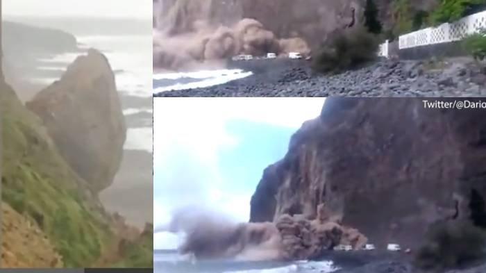 Detik-detik Menegangkan Tebing Raksasa Runtuh ke Pantai, Wisatawan Histeris Lari dari Mobil Karavan