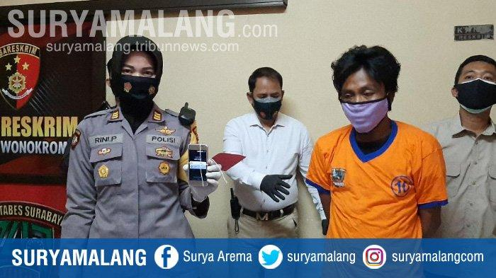 Tersangka ditangkap Polsek Wonokromo Surabaya karena merekam adegan gadis sedang mandi.