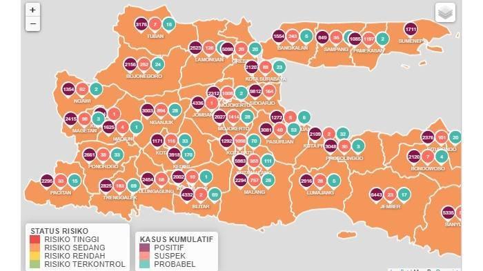 Tidak Ada Zona Merah di Jawa Timur, Kamis 25 Februari 2021, Semua Wilayah Berstatus Zona Oranye