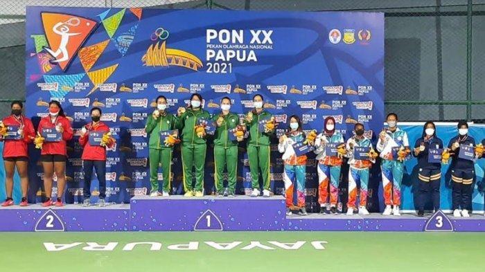 Tim Tenis Beregu Jatim Kawinkan Medali Emas, Giliran Tim Beregu Putri Kalahkan DKI Jakarta di Final
