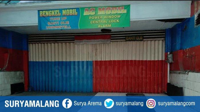 Lokasi bengkel AC dan servis mobil di Jalan Letjen S Parman, Kecamatan Blimbing, Kota Malang, Kamis (3/9/2020), tempat korban ditemukan tewas.