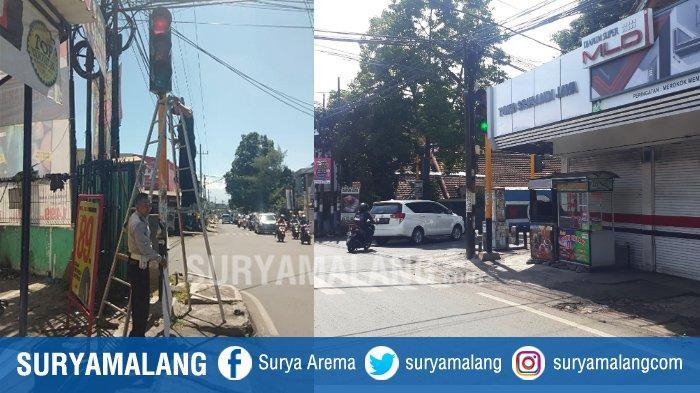 Traffic Light Tersembunyi di Simpang Kalpataru atau di Jl Melati Utara Akhirnya Digeser