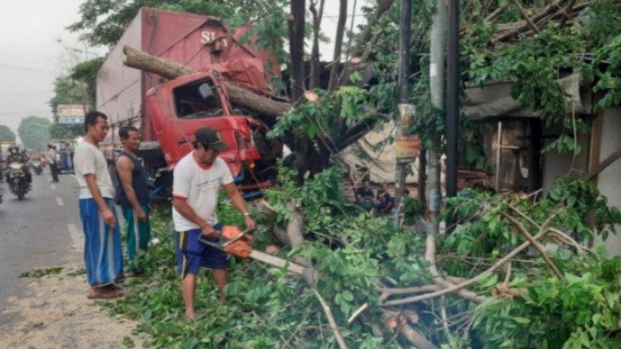 Sopir Ngantuk, Truk Tabrak Pohon di Mojokerto