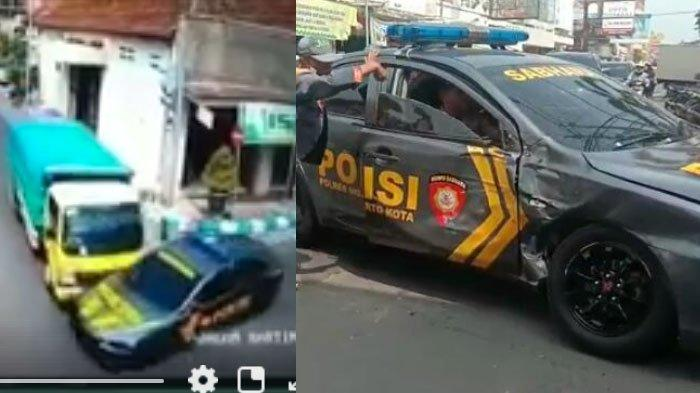 VIDEO : Truk Seruduk Mobil Polisi sampai Ringsek di Mojokerto