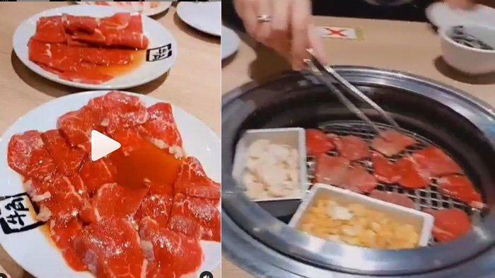 Tumpukan daging memenuhi piring di meja makan Amanda Manopo