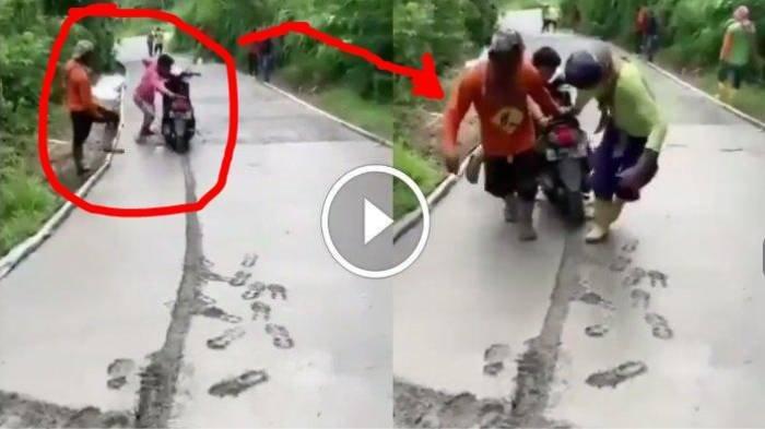 Ulah Menjengkelkan Pria TulungagungTerobos Jalan Cor Masih Basah, Motor Terjebak dan Susah Ditarik