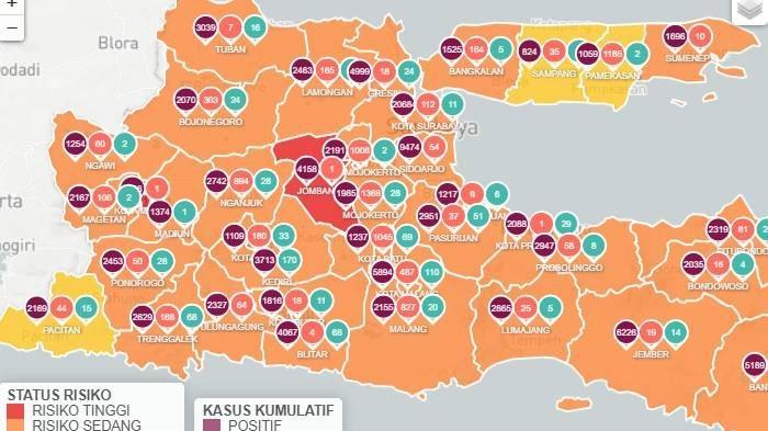 Update peta zona merah Covid-19 di Jawa Timur Senin 15 Februari 2021