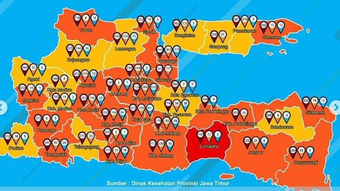 Peta Persebaran Zona Merah Covid-19 di Jatim Rabu 18 November 2020