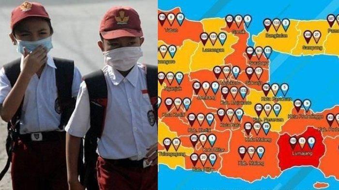 Update Zona Merah Covid-19 di Jatim Sabtu 21 November: Lumajang Merah, Surabaya Oranye, Ngawi Kuning