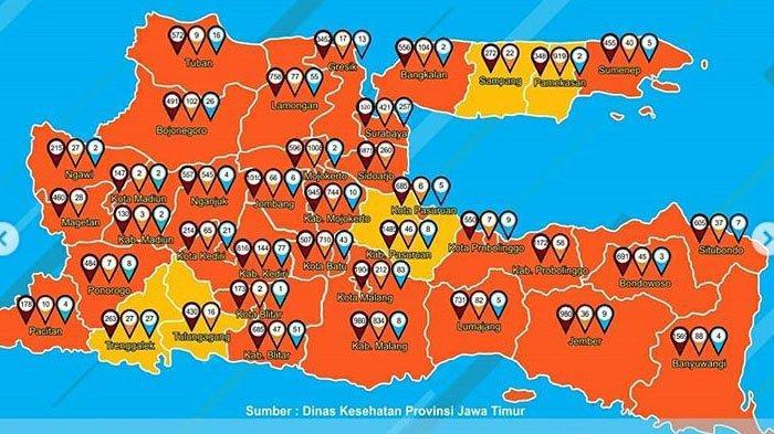 Peta Persebaran Zona Merah Covid-19 di Jawa Timur Jumat 16 Oktober 2020