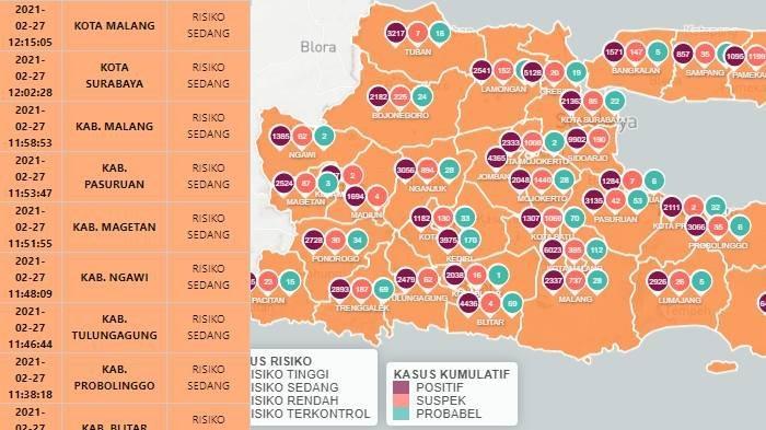Tidak Ada Zona Merah di Jawa Timur, Minggu 28 Februari 2021, Berikut Daftar 39 Daerah Zona Oranye