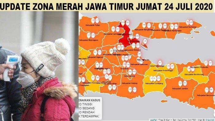 Update Zona Merah Jatim Jumat 24 Juli 2020: Pacitan Zona Kuning, Malang Oranye, Pasuruan Merah