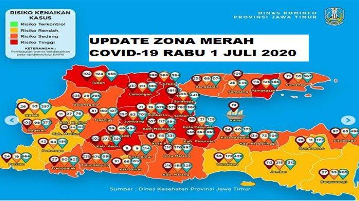 Update Zona Merah Jatim Rabu 1 Juli 2020: Gresik Merah, Kabupaten Malang Orange, Ponorogo Kuning