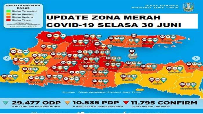 Update Zona Merah Jatim Selasa 30 Juni 2020: Surabaya & Kota Malang Merah, Kabupaten Magetan Orange