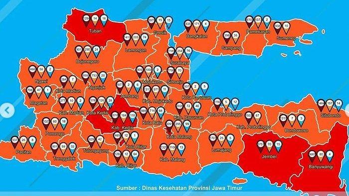 UPDATE Zona Merah Jawa Timur Hari Ini Sabtu 19 Desember 2020: Malang, Blitar, Kediri, Jember, Tuban