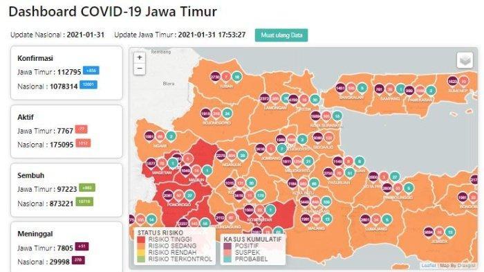 Zona Merah Jawa Timur Hari Ini Senin 1 Februari 2021: Ada 7 Daerah Termasuk Blitar, Ponorogo, Madiun