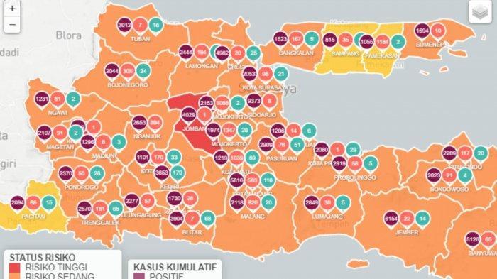 Daftar Zona Merah Jawa Timur Jumat 12 Februari 2021: Kabupaten Jombang dan Kota Madiun